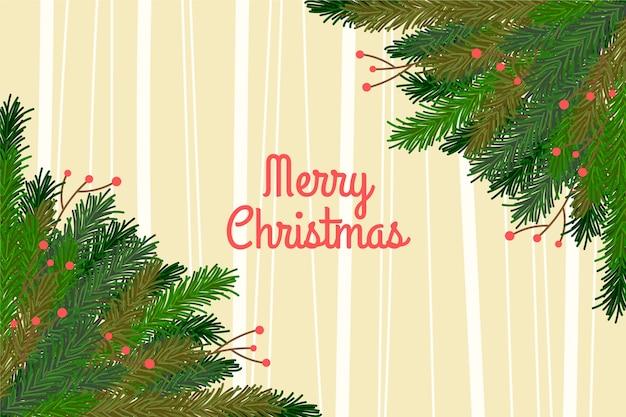 手描きのクリスマスツリーの枝の背景 無料ベクター