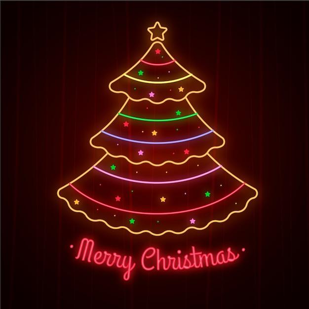 Рождественская елка концепция неоновый дизайн Бесплатные векторы