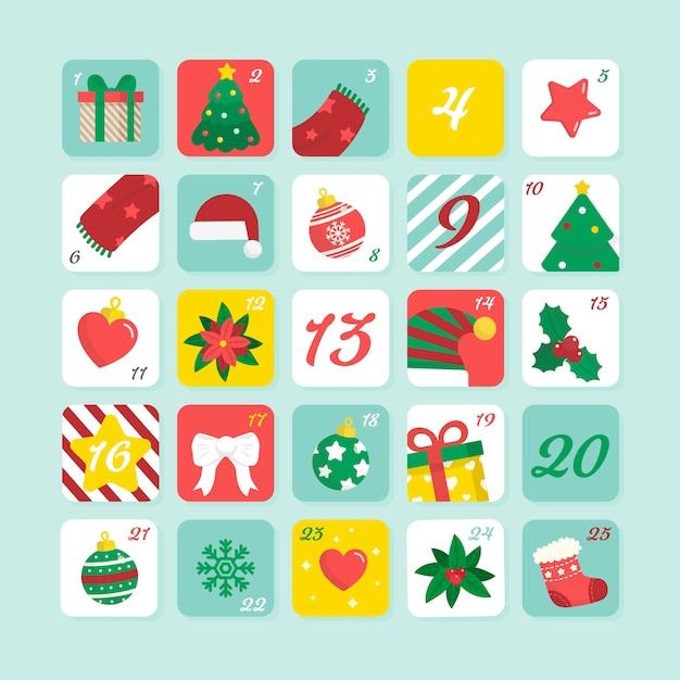 Плоский дизайн праздничного календаря пришествия Бесплатные векторы