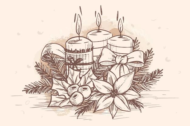 Ручной обращается рождественские свечи фон Бесплатные векторы