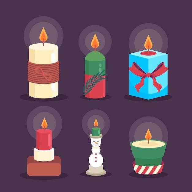 Плоская рождественская коллекция свечей Бесплатные векторы
