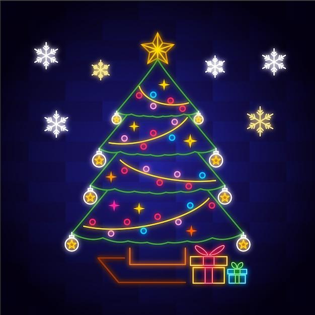 クリスマスツリーコンセプトネオンデザイン 無料ベクター
