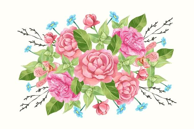 カラフルなビンテージ花の花束 無料ベクター