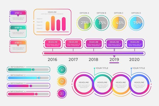 Коллекция элементов плоских инфографики Бесплатные векторы