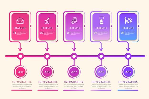 Хронология бизнес инфографики в плоском дизайне Бесплатные векторы