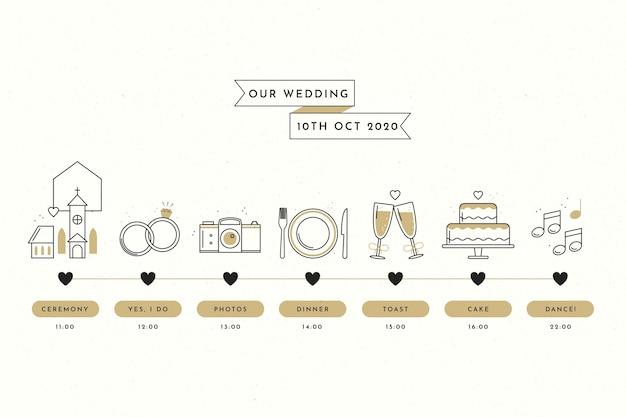 直線的なスタイルのシンプルな結婚式のタイムライン 無料ベクター