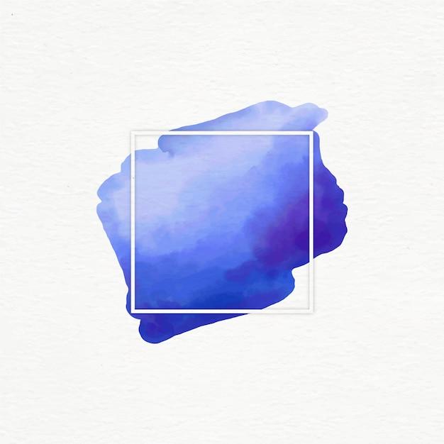 水彩の汚れと白い幾何学的なフレーム 無料ベクター