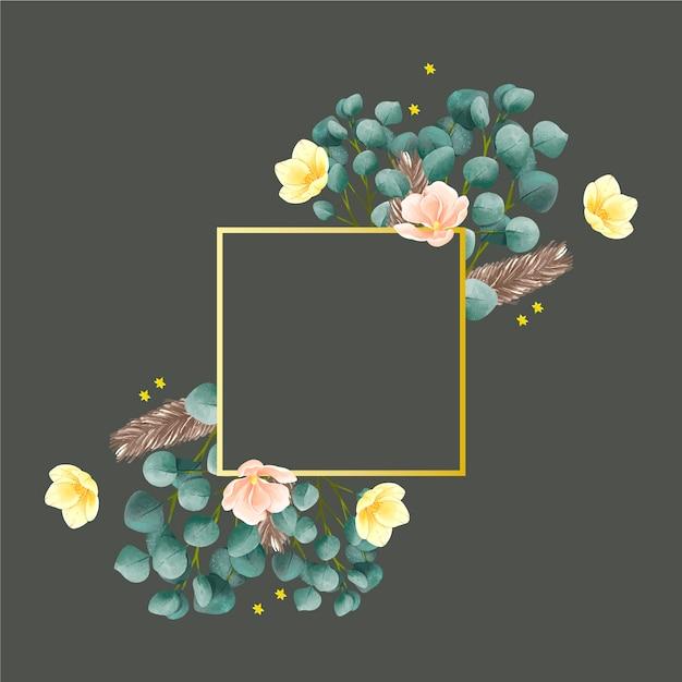 冬の花とゴールデンフレーム 無料ベクター