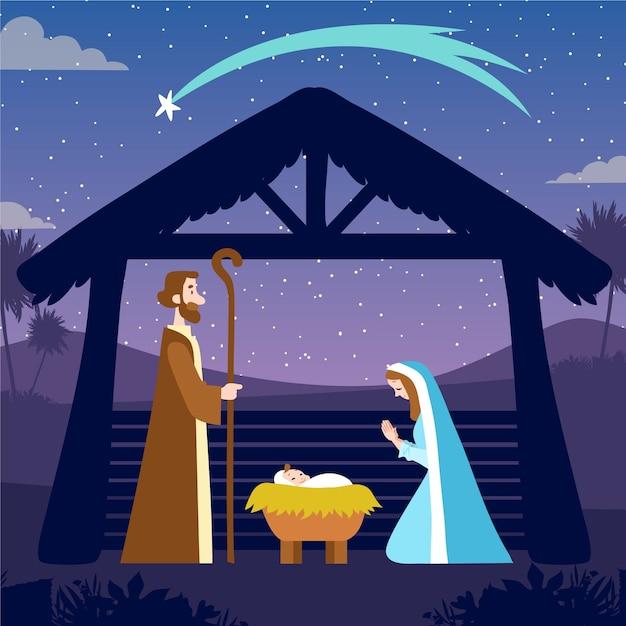 手描きのキリスト降誕のシーンのコンセプト 無料ベクター