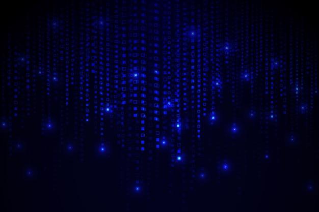 青い抽象ピクセル雨背景 無料ベクター