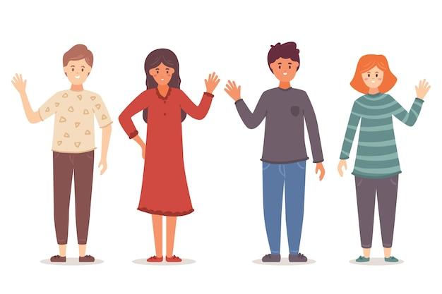 Молодые люди машут рукой иллюстрации Бесплатные векторы