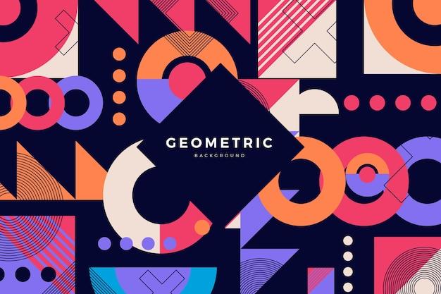 フラットなデザインの幾何学的図形の背景 無料ベクター