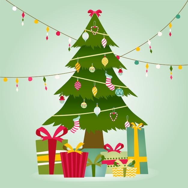 Рождественская елка с классическим дизайном Бесплатные векторы