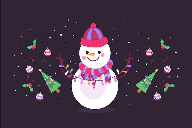 手描きクリスマス背景コンセプト 無料ベクター