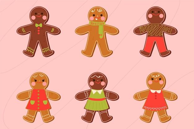 手描きジンジャーブレッドマンクッキーコレクション 無料ベクター
