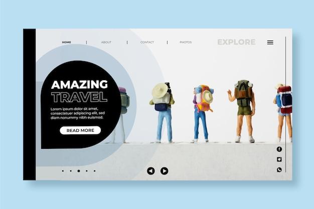 Современная туристическая посадочная страница с фото Бесплатные векторы