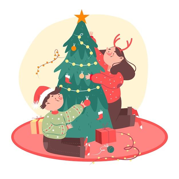 クリスマスツリーを飾る友人 無料ベクター
