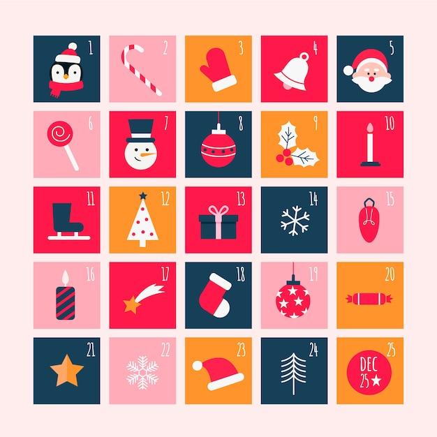 フラットなデザインのカラフルなアドベントカレンダー 無料ベクター