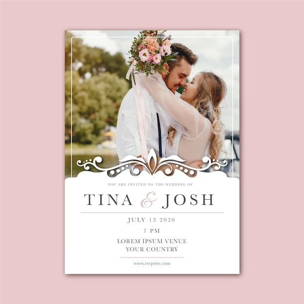 Красивый шаблон свадебного приглашения с фото Бесплатные векторы