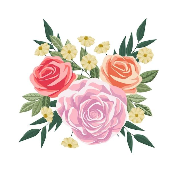 Красочный винтажный цветочный букет Бесплатные векторы