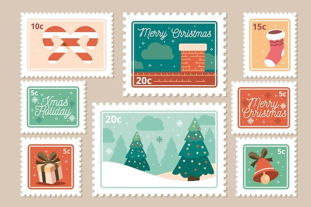 Коллекция рождественской марки в плоском дизайне Бесплатные векторы