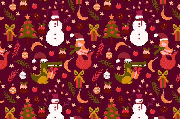 Забавный рождественский узор Бесплатные векторы
