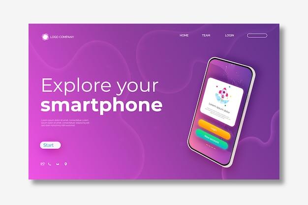 スマートフォンを使用したテンプレートのランディングページ 無料ベクター