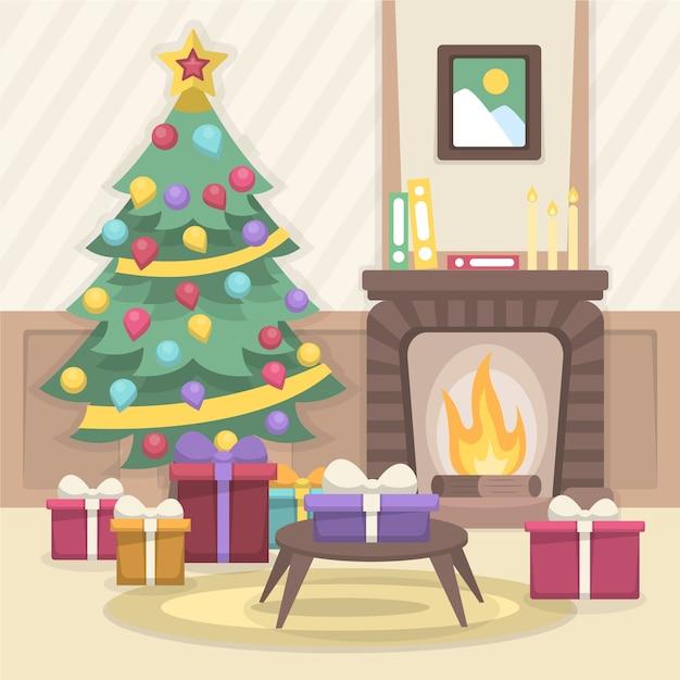 フラットなデザインのクリスマス暖炉イラスト 無料ベクター