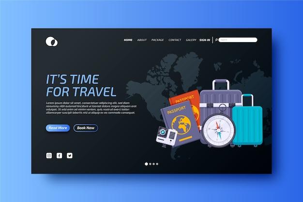 カラフルな旅行用ランディングページテンプレート 無料ベクター