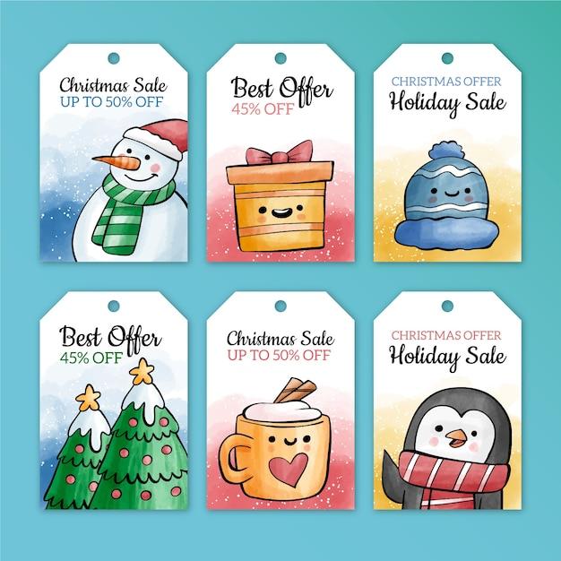 水彩風クリスマスセールタグコレクション 無料ベクター