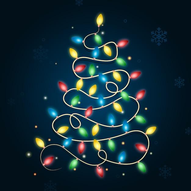 電球で作られたクリスマスツリーのコンセプト 無料ベクター