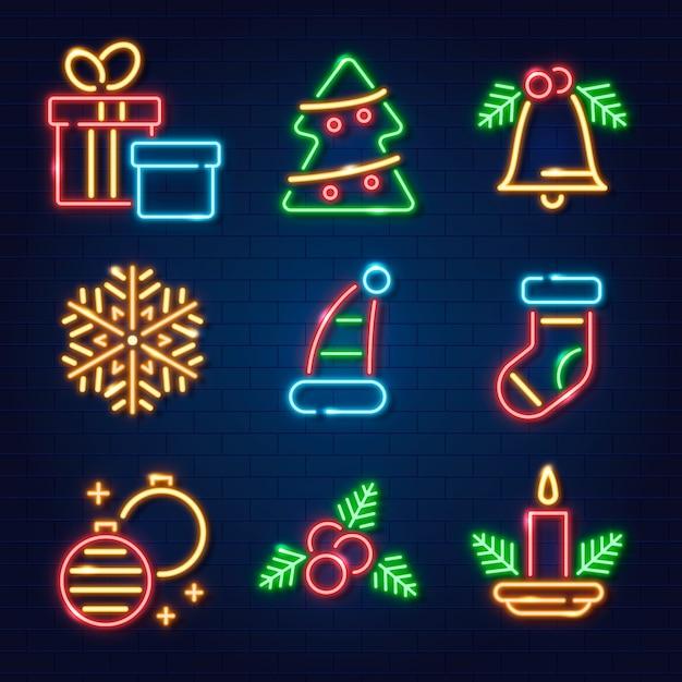 ネオンクリスマス要素コレクション 無料ベクター