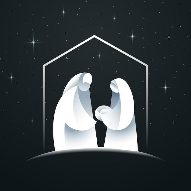 抽象的なキリスト降誕のシーンのコンセプト 無料ベクター