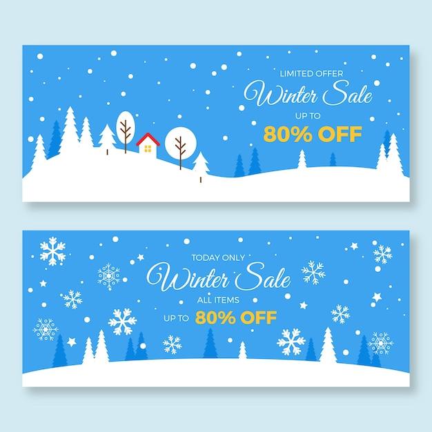 Плоский дизайн зимней распродажи баннеров шаблон Бесплатные векторы
