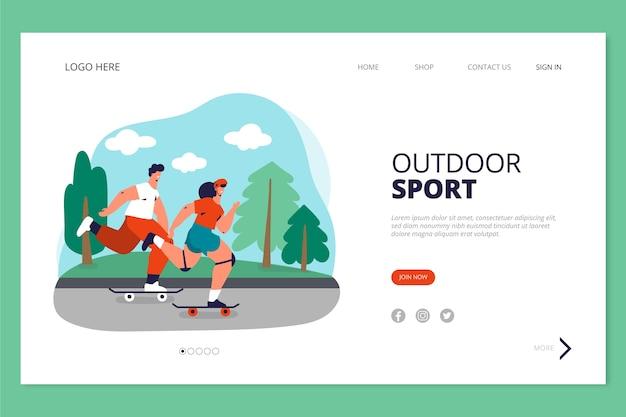 屋外スポーツのランディングページテンプレート 無料ベクター