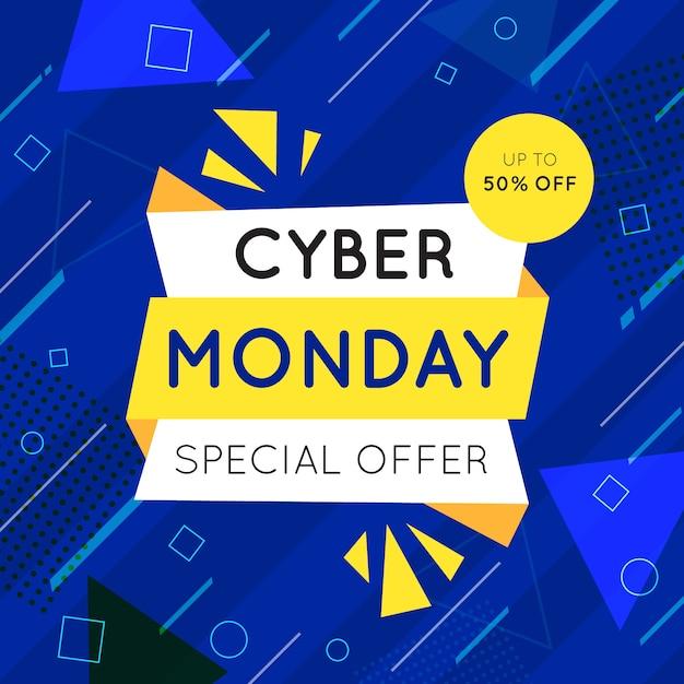 Кибер понедельник в плоском дизайне Бесплатные векторы