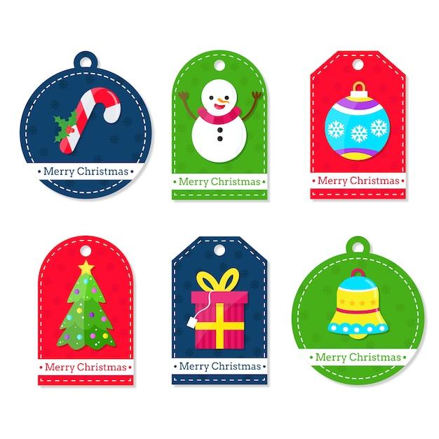 Плоский дизайн рождественская коллекция этикеток Бесплатные векторы