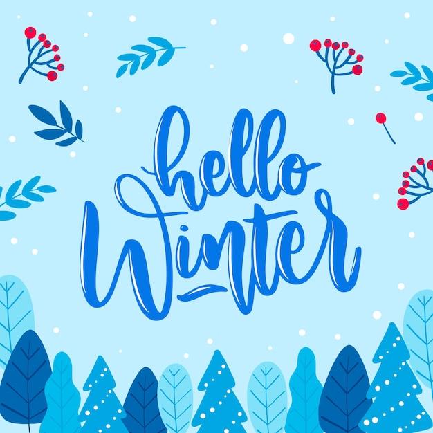 こんにちは冬のレタリングとベビーブルーの背景 無料ベクター