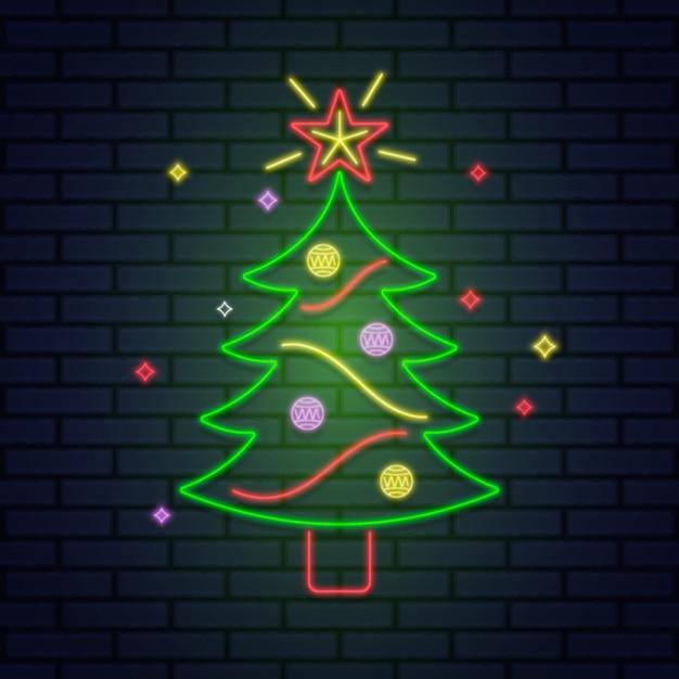 ネオンデザインのクリスマスツリーの概念 無料ベクター