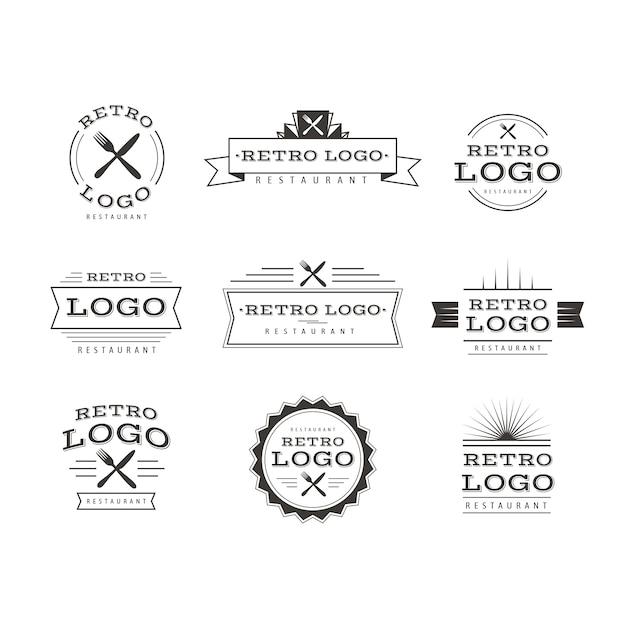 Коллекция шаблонов логотипа ресторана ретро Бесплатные векторы