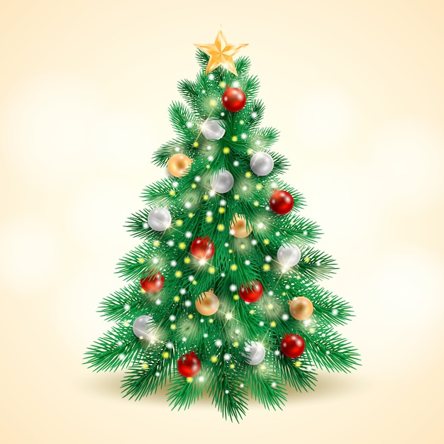 現実的なクリスマスツリーのコンセプト 無料ベクター