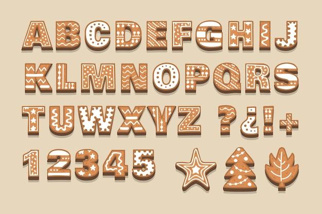 ジンジャーブレッドクリスマスアルファベットパック 無料ベクター