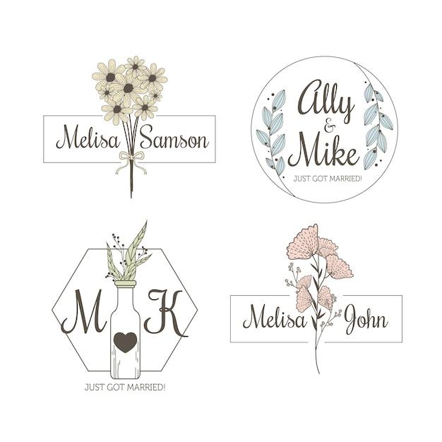 Минималистичные свадебные монограммы в пастельных тонах Бесплатные векторы