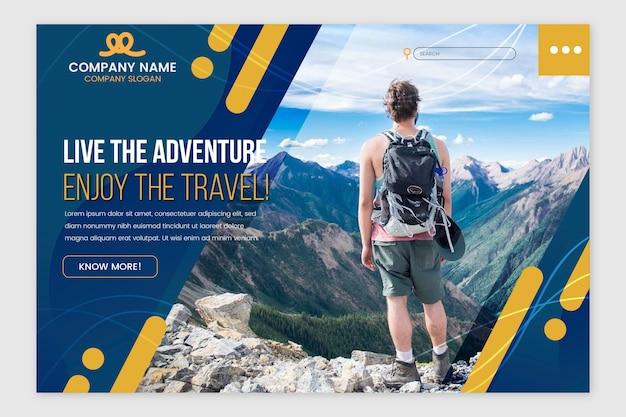写真付きの旅行のランディングページ 無料ベクター