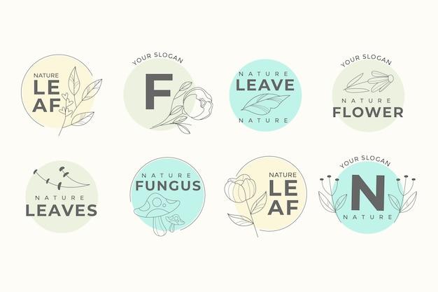 Коллекция логотипов из натурального бизнеса в минималистском стиле Бесплатные векторы