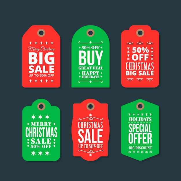 Плоский дизайн коллекции рождественские продажи тегов Бесплатные векторы