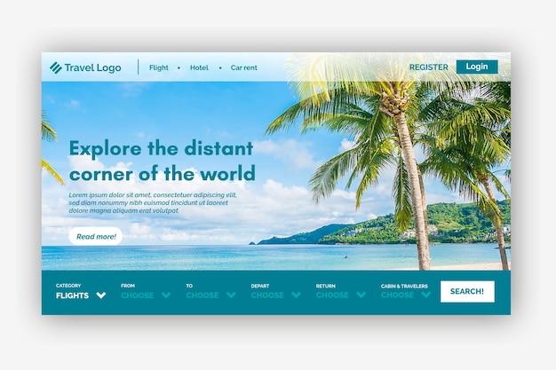 Целевая страница путешествия с изображением Бесплатные векторы