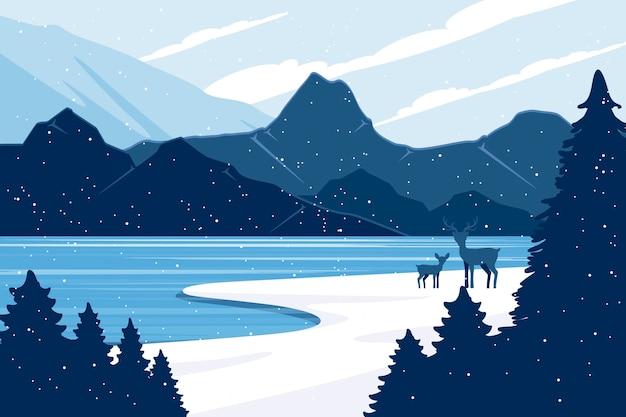 Концепция зимнего пейзажа в плоском дизайне Бесплатные векторы