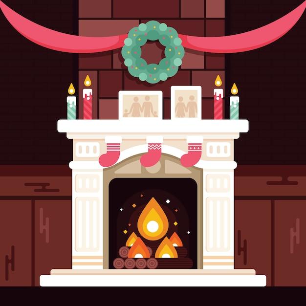 フラットなデザインのクリスマス暖炉シーンのコンセプト 無料ベクター