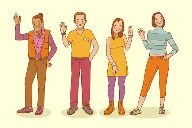 Ручной обращается молодые люди машут рукой набор Бесплатные векторы